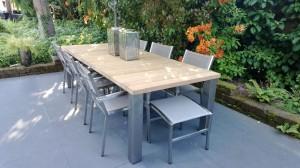 tuin tafel tuintafel design teak rvs ontwerp peter hamers schagen tuinmeubilair kwaliteit